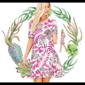 NEW Boutique Boho Palm Leaves Dress W/ Pockets